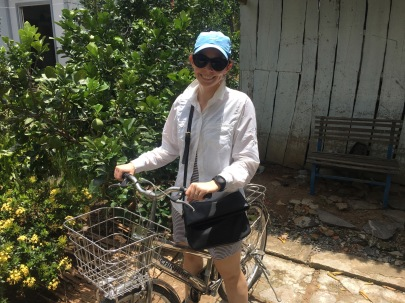 Getting ready to cycle around a town in the Mekong Delta